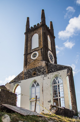 caribbean church clocktower grenada hurricaneivan ruin stgeorge