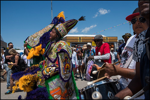 Young Cherokee Big Chief during Jazz Fest Day 5 on May 5, 2017. Photo by Ryan Hodgson-Rigsbee www.rhrphoto.com