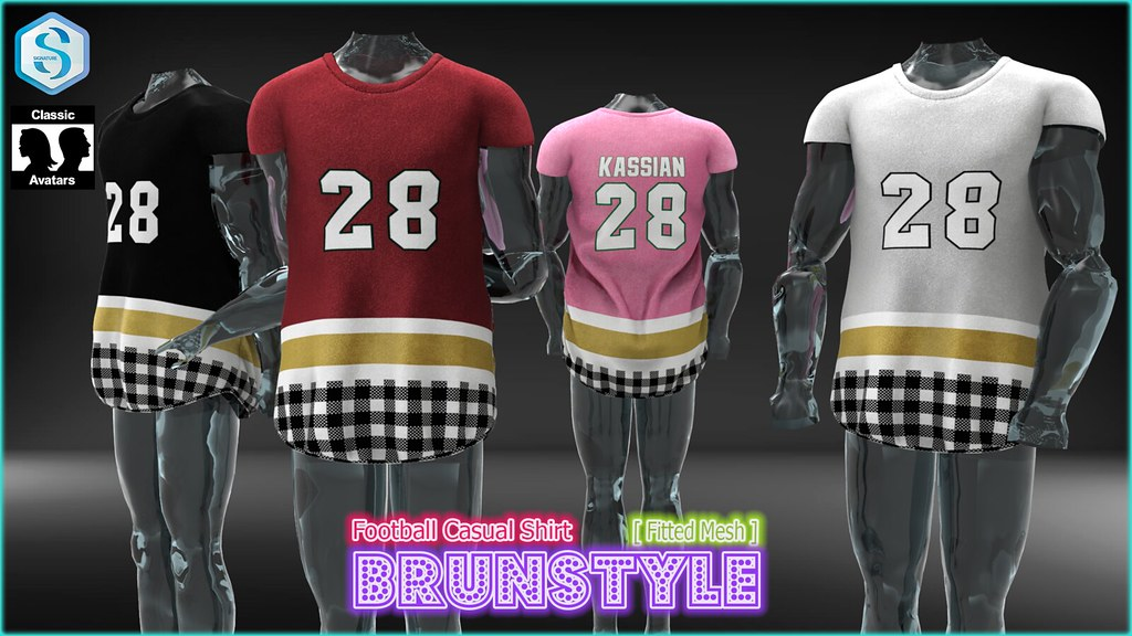 [BrunStyle] Football Casual Shirt (Fitted Mesh) - SecondLifeHub.com