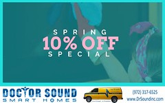 """Take 10% off all labor only at Doctor Sound Smart Homes. Schedule your free estimate here  https://goo.gl/skndAg  *Offer expires May 31st 2017, discount applies to labor costs only, up to $500 off."""