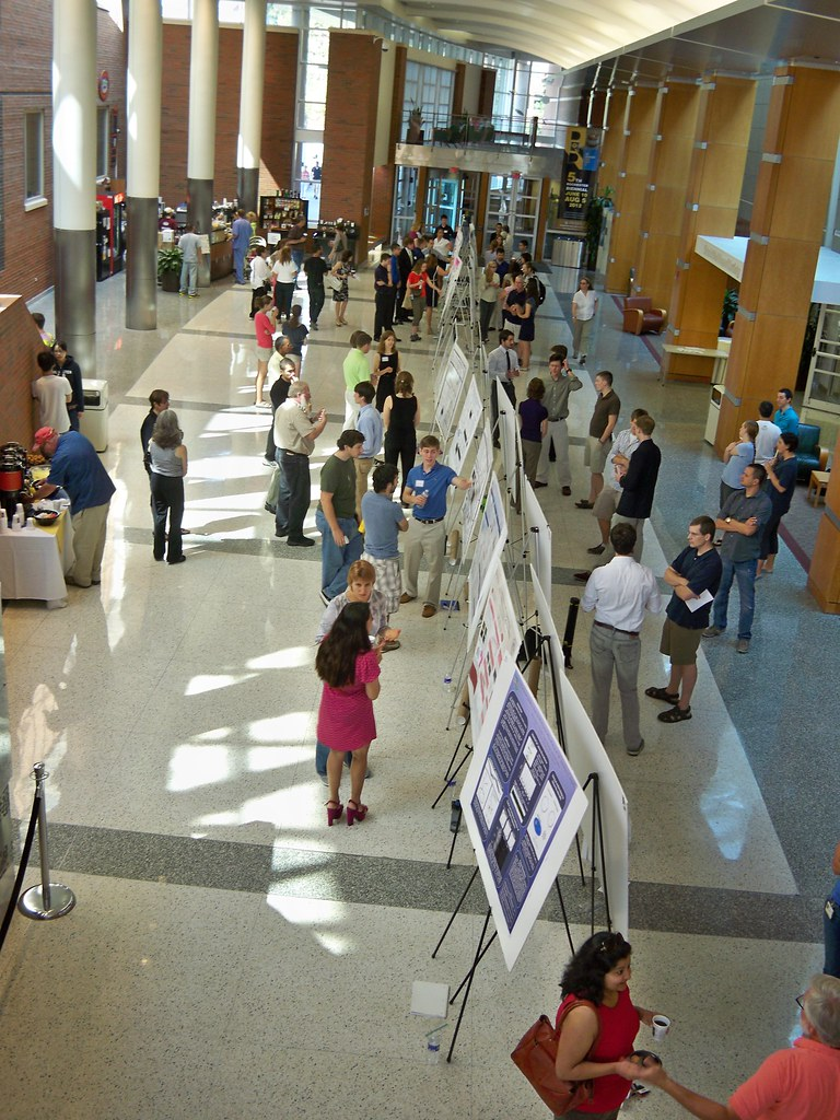 Long shot balcony view of poster session