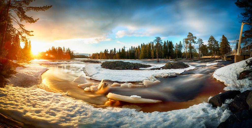 Sunset and Ice Jams in River Kiiminkijoki