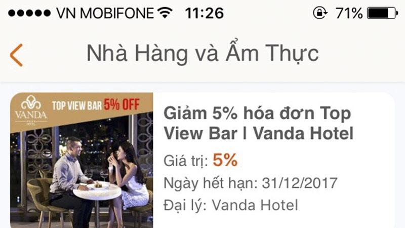 Giảm 5% hóa đơn Top View Bar | Vanda Hotel - Hướng dẫn sử dụng 3