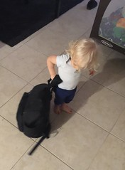 LJ ... ready and packed for Papa and Granny's house.