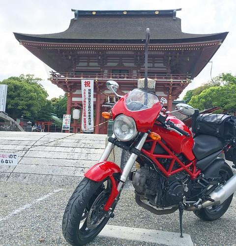 せっかく晴れたので津島神社へドゥカたんで来てみた! 暑い〜! #ducati #ducatimonster #japanese #shintoshrine