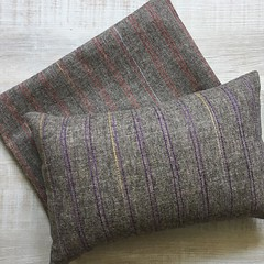 Helped a friend with a healing shoulder finish up these beauties to gift her daughter. Wool upcycled from an old dress. #invisiblezipperpillow