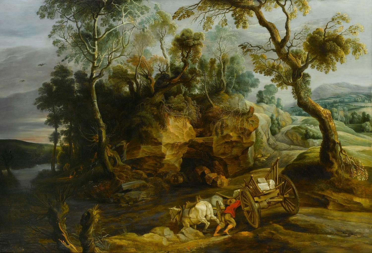 Landscape with Cart Crossing a River by Lucas van Uden