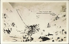 """The Trail of '98.""  Klondikers Ascending Chilkoot Pass, Alaska. Real Photo Postcard 365, Winter & Pond, Co., (1898)"