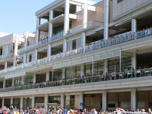 釜山慶南競馬場のスタンドからパドックをのぞきこむ人々
