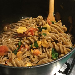 Cricket flour pasta, pancetta. Sail tomatoes and mushrooms. Pretty tasty bugs. #cookery #food #eatingbugs