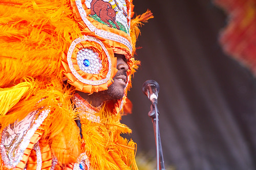 Big Chief Bird and the Young Hunters Mardi Gras Indians on Day 4 of Jazz Fest 2017 - May 4. Photo by Eli Mergel.