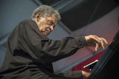 Abdullah Ibrahim with the Jazz Epistles on Day 3 of Jazz Fest 2017. Photo by Marc PoKempner.