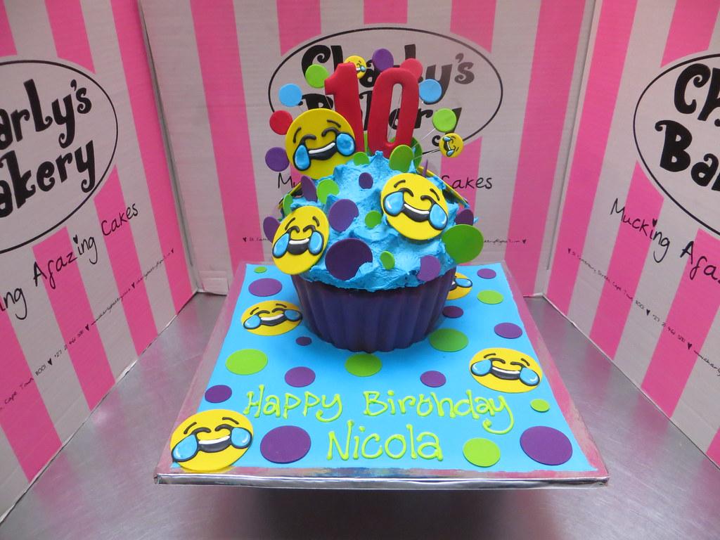 Emoji Themed Giant Cupcake Shaped Cake