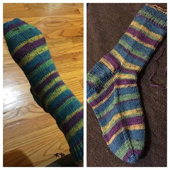 One down!  #knit #socks #stripeysocks #stripes