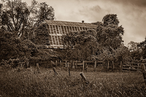 abandoned bw barbedwire barn blackwhite blackandwhite decay decayed derelict deserted dilapidated fence industry monochrome old overgrown ruins sepia newulm texas unitedstates us