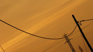 Sunset with electricity