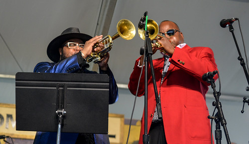 Jazz Fest Louis Armstrong Tribute on Day 4 - May 4, 2017. Nicholas Payton, James Andrews. Photo by Charlie Steiner.