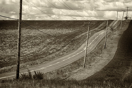 ian sane images thewavesofaboveandbelow rural marion county oregon road sky clouds wavy sepia tones power lines landscape photography canon eos 5d mark ii two camera ef70200mm f28l is usm lens