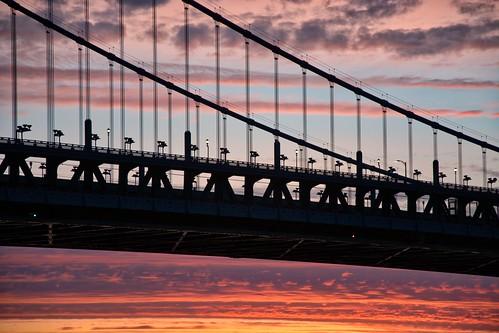 sunrise bridge ben franklin benfranklinbridge