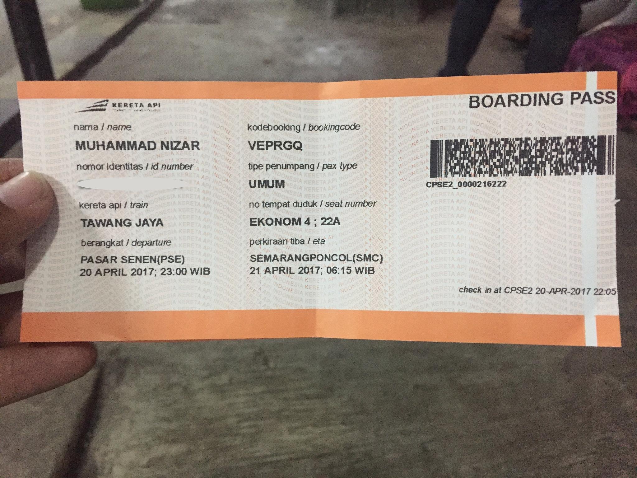 Boarding Pas kereta