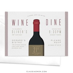 Wine and dine - there's no better idea! Perfect for food and wine lovers. This invitation would be ideal for birthday celebrations, anniversary dinners, to celebrate a promotion and even professional events. The card features a large wine bottle illustrat