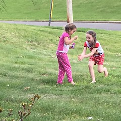 Popping #bubbles outside after dinner. In their #jamamas. As you do.