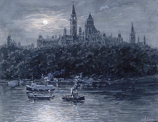 Parliament Buildings by moonlight from the riverfront, Ottawa, Ontario / Édifices du Parlement vus de la rivière au clair de lune, Ottawa (Ontario)