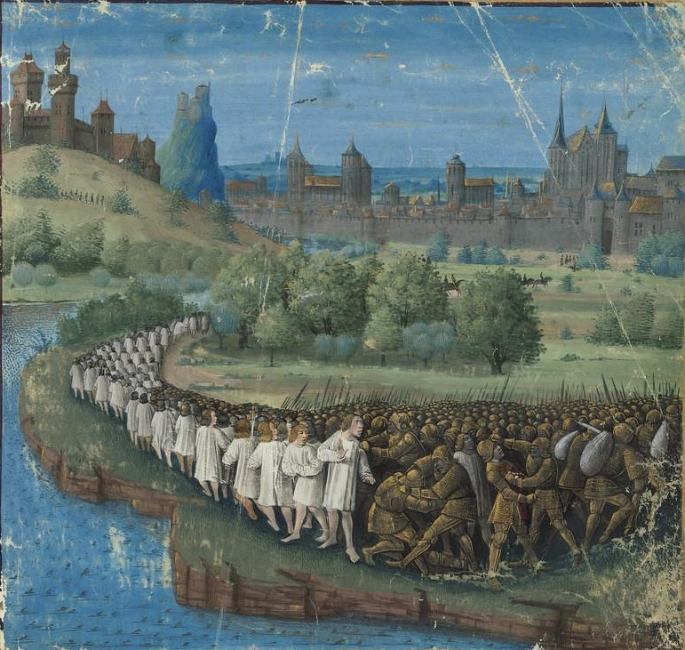 Medieval illuminated manuscript showing the final People Crusade after Battle of Civetot
