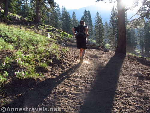 Hiking the trail to the Horse Camp on Mt. Shasta, California