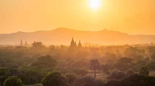 myanmar asia southeastasia travel traveling burma olympus omd omdem10 backpacking bagan goldenhour sunset panorama view temple temples landscape 75mm