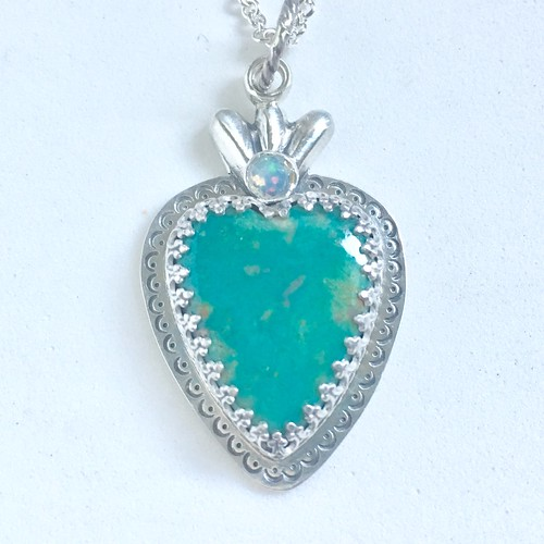 Turquoise and Opal Sacred Heart pendant | by jujubysarah