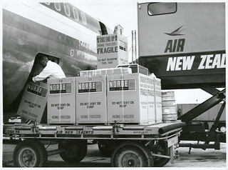 New Zealand home-made freezer units being air freighted to Australia from Auckland Airport