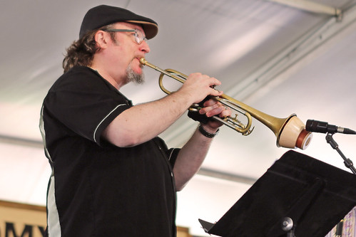 Playing with Tim Laughlin in the Economy Hall Tent on Day 5 of Jazz Fest - May 5, 2017. Photo by Bill Sasser.
