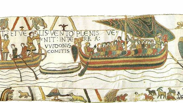 Ships of Duke William of Normandy on Bayeux Tapestry Scene