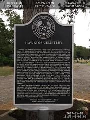 Hawkins Cemetery marker location