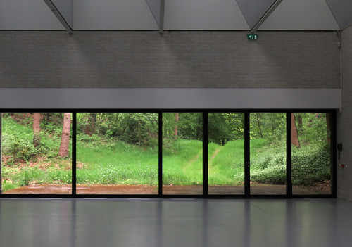 Windows looking over Kroller Muller Sculpture Garden near Utrecht in Holland