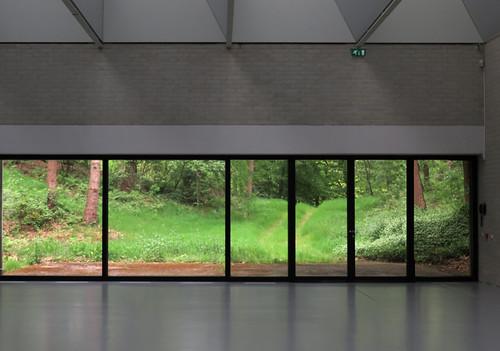 Windows looking over Kroller Muller Sculpture Garden near Utrecht in Holland