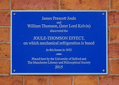 Photo of James Prescott Joule and William Thomson blue plaque