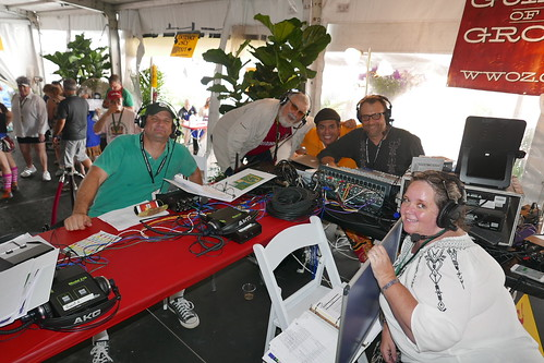 Dave, AJ Rodrigue (The Boudin Man), Jorge Fuentes, George Ingmire, and Leslie Cooper live broadcast from Jazz Fest Day 2 - April 29, 2017. Photo by Black Mold.