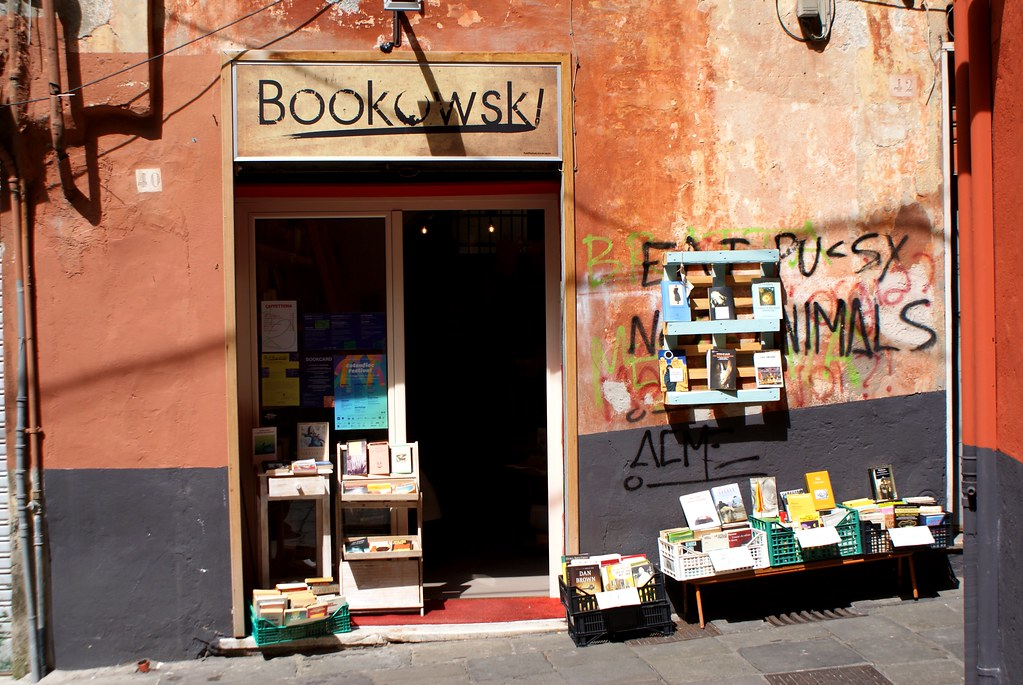 Librairie Bookowski à Gênes dans la Vieille Ville.