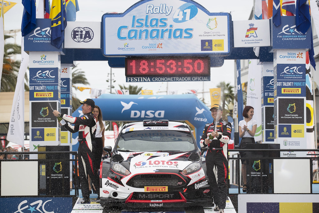 06 KAJETANOWICZ Kajetan (POL),  BARAN Jaroslaw (Pol), Ford Fiesta R5, Podium during the 2017 European Rally Championship ERC Rally Islas Canarias, El Corte Inglés,  from May 4 to 6, at Las Palmas, Spain - Photo Gregory Lenormand / DPPI