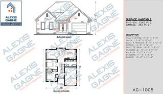 Plan de maison 1 étage avec garage - MM1eG.01