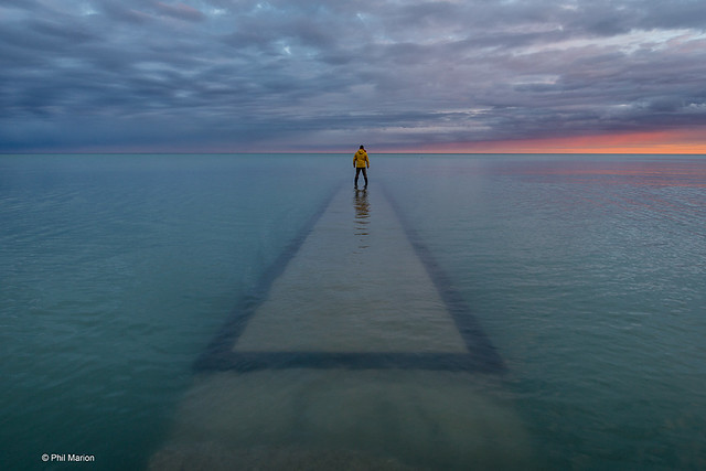Yours truly taking a long walk on a short submerged pier - Balmy Beach, Toronto