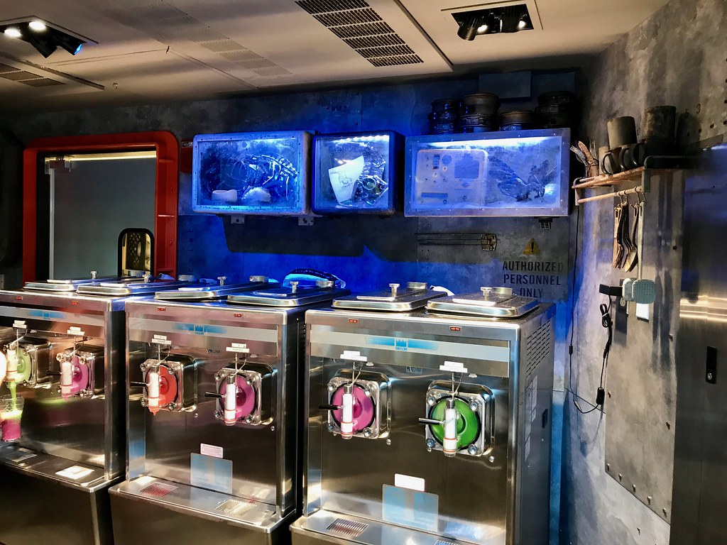 The frozen drinks are concocted from these machines, which are surrounded by even more themed elements inside the kiosk