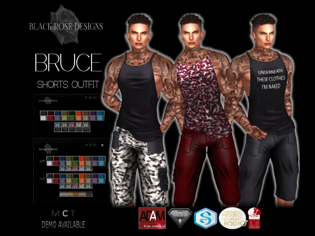 [[BR]] BRUCE SHORTS OUTFIT - SecondLifeHub.com
