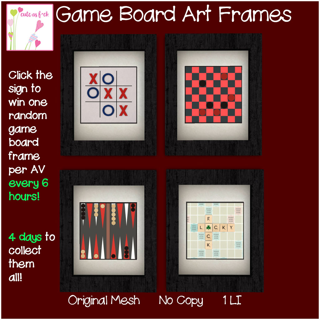 ::cute as f*ck:: Game Board Art Frames FREE GIVE AWAY! - SecondLifeHub.com
