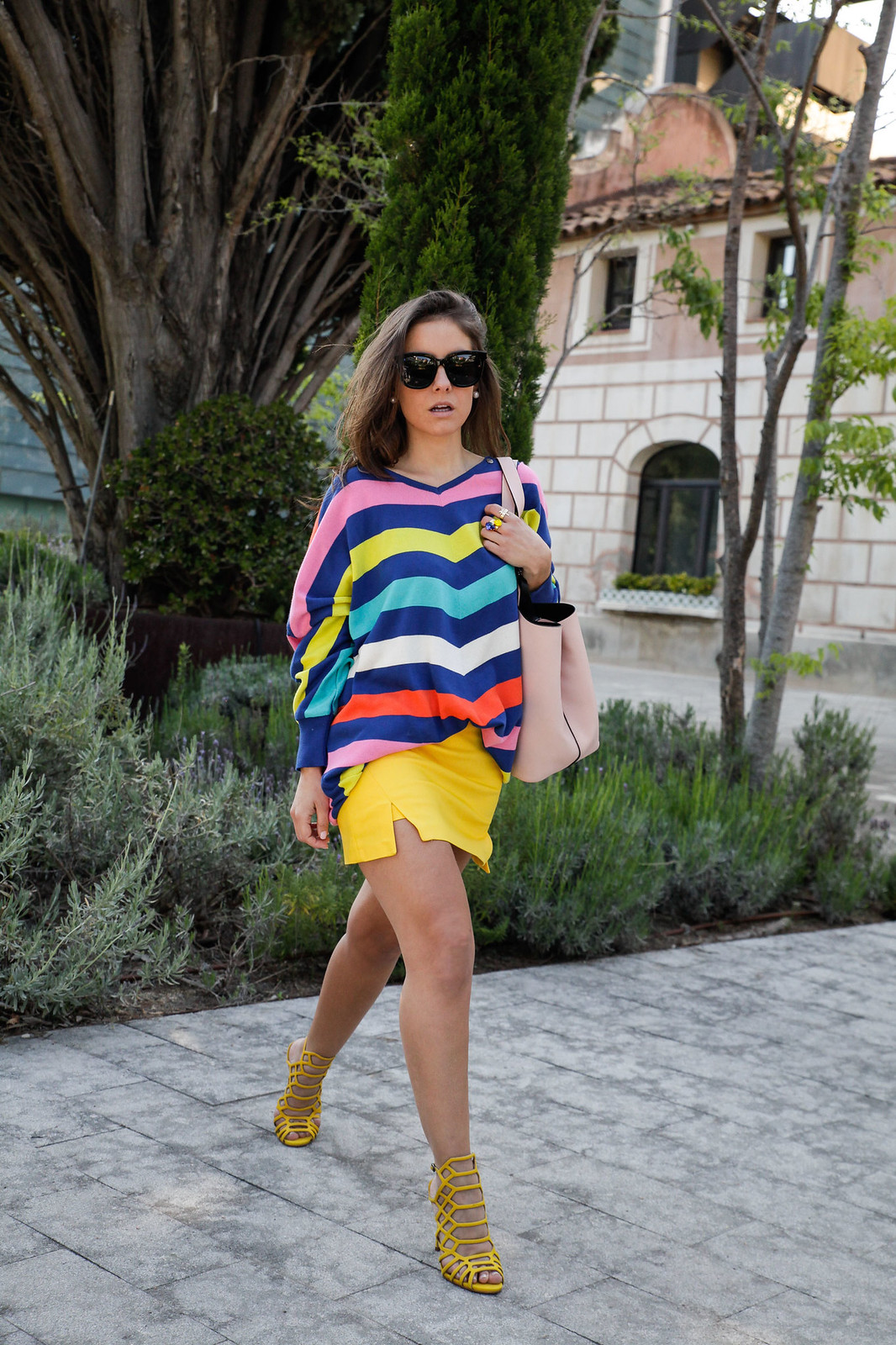 012_sweater stripes color yellow skirt_theguestgirl_how_to_wear