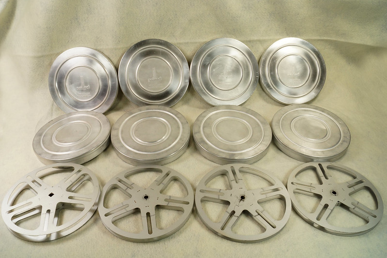 RD15726 4 Vintage Paillard Aluminum Flilm Cans and Reels Made in Switzerland DSC00238