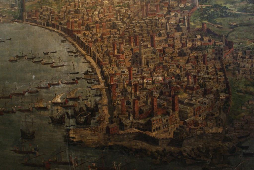 Illustration irréaliste de la Vieille Ville de Gênes avec la Cathédrâle San Lorenzo en plein centre.