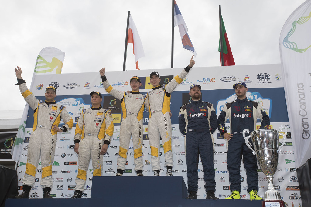 INGRAM Chris (GBR), EDMONDSON Elliot (GBR), Opel Adam R2, HUTTUNEN Jari (FIN) LINNAKETO Antti (FIN) Opel Adam R2 ,BLACH NUNEZ  Roberto (ESP), DELGADO Ariday  Bonilla (ESP), PEUGEOT 208 VTI R2, , ambiance portrait podium,  during the 2017 European Rally Championship ERC Rally Islas Canarias, El Corte Inglés,  from May 4 to 6, at Las Palmas, Spain - Photo Gregory Lenormand / DPPI